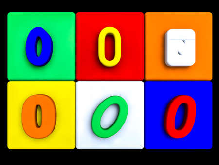 various numbers 0 on colored cubes, on black