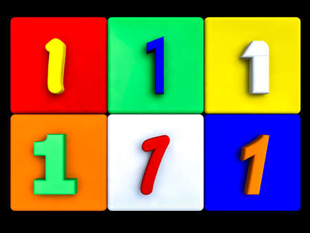 various numbers 1 on colored cubes, on black