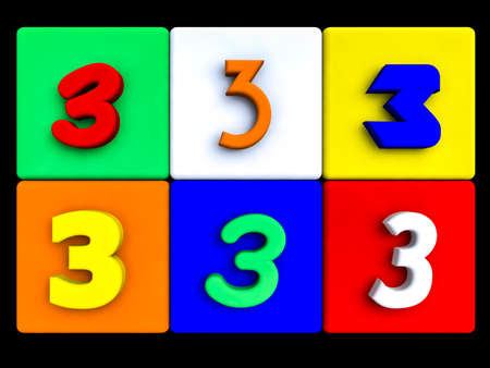various numbers 3 on colored cubes, on black