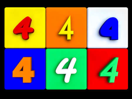 various numbers 4 on colored cubes, on black Stock Photo