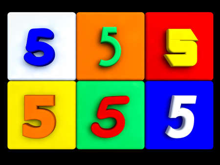 various numbers 5 on colored cubes, on black