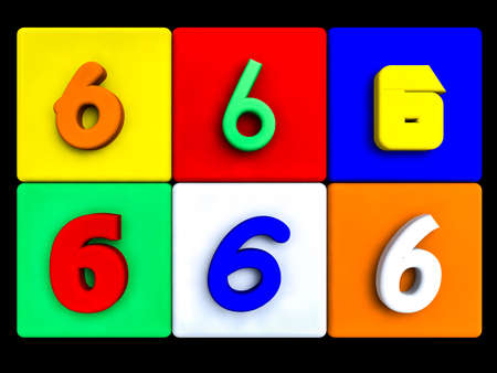 various numbers 6 on colored cubes, on black Stock Photo