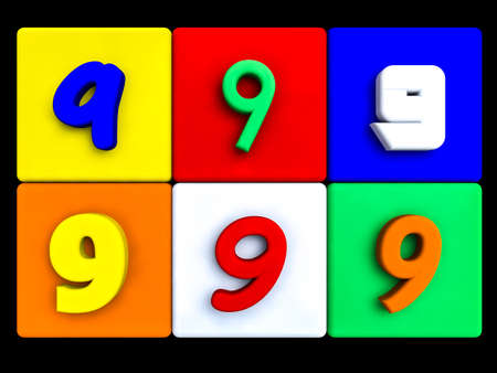 various numbers 9 on colored cubes, on black