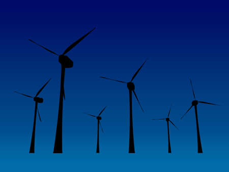 expanse of wind turbines, seen in black silhouette Stock Photo