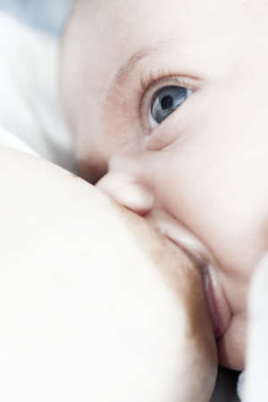 lactation: mother breast-fed her infant and the newborn watch the mother