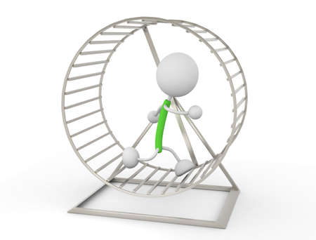 trapped: Hamster Wheel Stock Photo