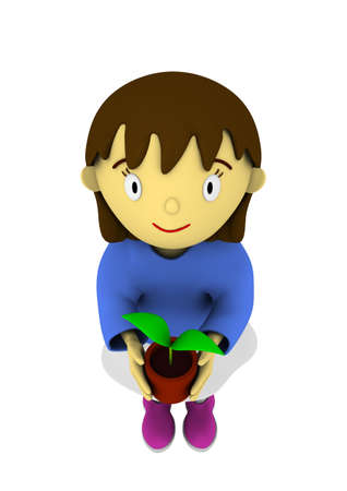 Girl with sapling in hands