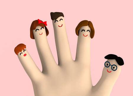 Finger art family group 写真素材