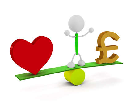Money and Heart Stockfoto