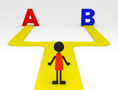 A の選択と B 写真素材