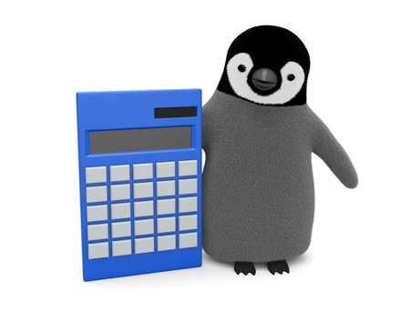 Penguin and calculator Imagens