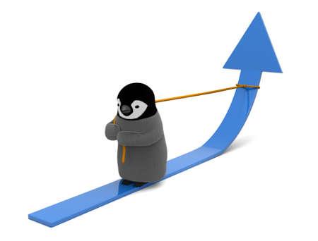 Penguin pulling arrow