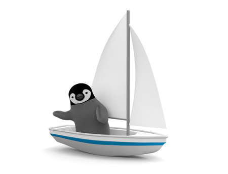 Penguin on a yacht Imagens