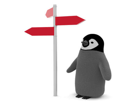 Direction sign and penguin