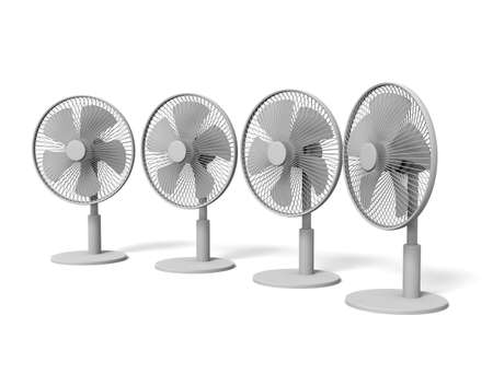 Electric Fans on white background