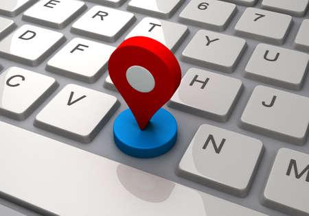 Keyboard and Map pin Imagens - 126274015