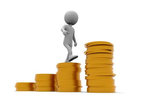 Climb a pile of coins Imagens - 126274018