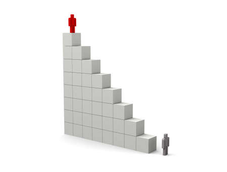 Cubes stacked in stair Imagens
