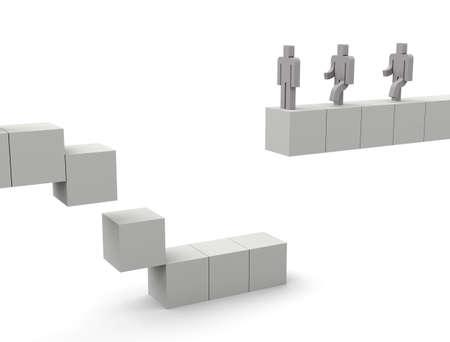 broken cube bridge Imagens - 131756379
