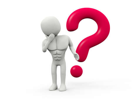 Thinking men with question mark