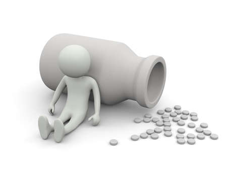 Medical pills out of a drug bottle