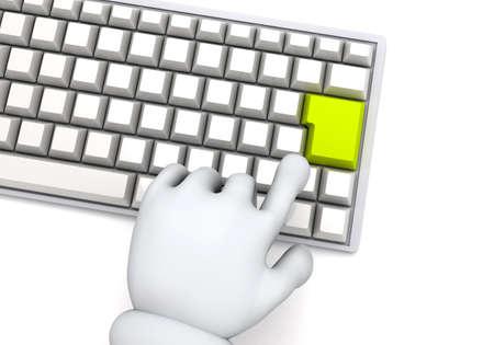 Finger pushing computer keyboard 写真素材