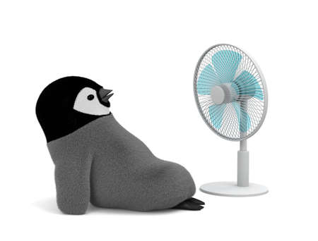 Penguin cools with an electric fan