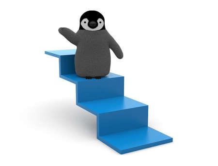 Penguin on stairs Stock Photo
