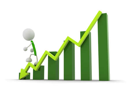 Graph and arrow down Stock Photo