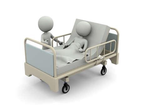 Patient lying in bed 写真素材