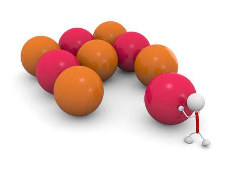 Pushing a ball 写真素材