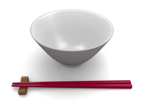 Chopsticks and bowl on white