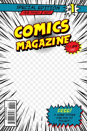 Comic book cover. Template vector art. Stock Illustratie
