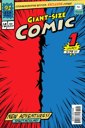 Comic book cover. Giant size in vector. Stock Illustratie