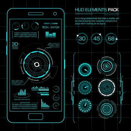 Hud elements pack. Vector art with futuristic concept. Vector Illustration