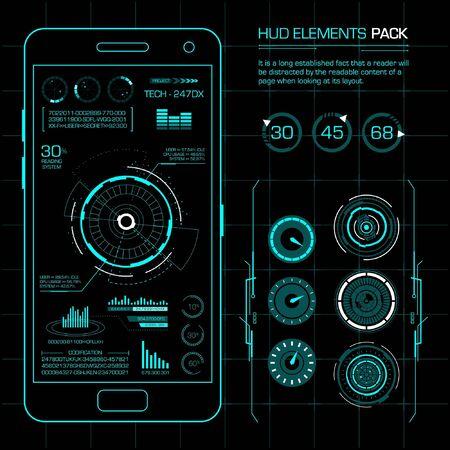 Pack d'éléments Hud. Art vectoriel avec concept futuriste. Vecteurs