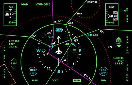 Vector art with air navigation panel concept.