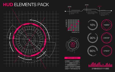 Paquete de elementos hud. Plantilla de concepto futurista. Ilustración de vector