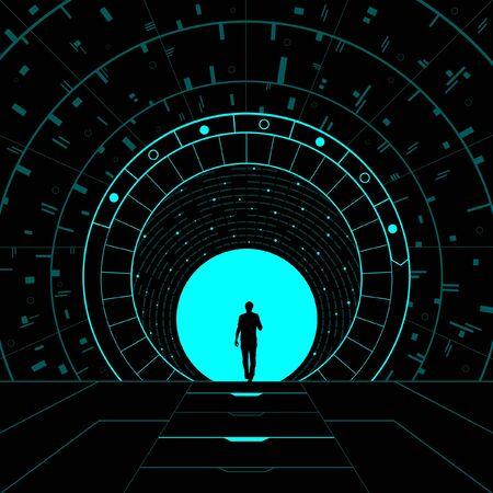 Konzeptionelle Darstellung eines dimensionalen Portals. Vektorgrafik