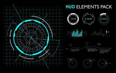 Elementos futuristas de la interfaz hud.