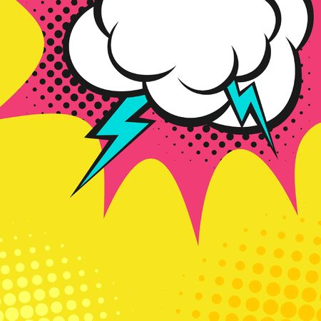 Clouds with lightning. Style comics, halftone. Ilustração