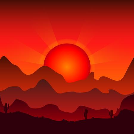 山の背景に日没。ベクトルの図。