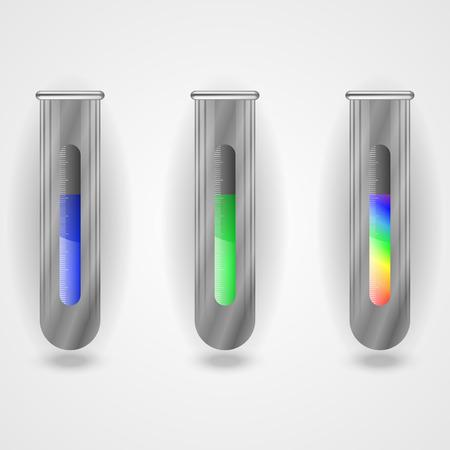 Metallic flasks with liquidity. Fluid in the flasks. Illustration