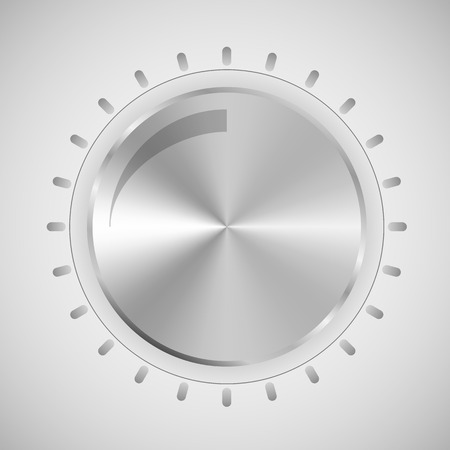 Metal button for scrolling the sound level. Round vector button in metal style. Ilustrace