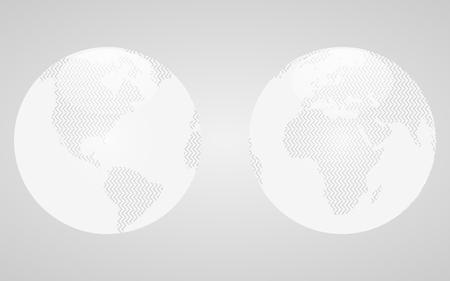 행성 지구의 흰 반구. 유리 스타일에서 벡터 글로브입니다.
