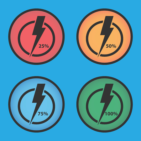 Set of multi-colored energy indicators. Level of charge.