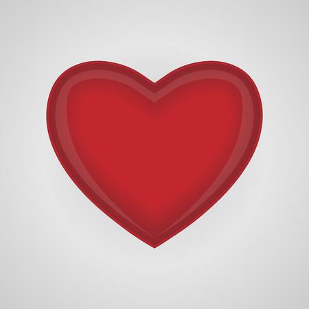 Grand coeur rouge sur fond blanc. Coeur de vecteur. Clipart pour la Saint Valentin. Banque d'images - 93243076