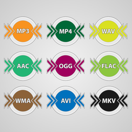 Set of icons for audio and video file formats. Colorful round file type icons.