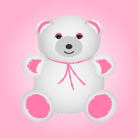 White teddy bear with pink paws. Vector soft toy.