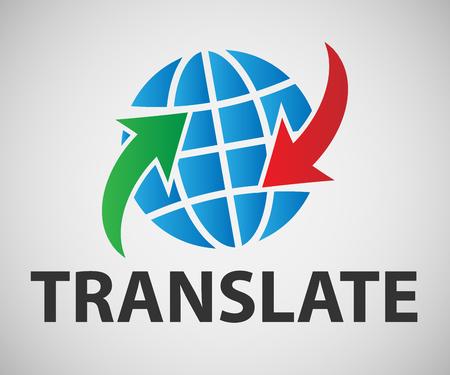 Vector banner van de vertaler. Kleurenbanner op een witte achtergrond.